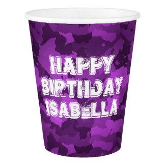 Purple Camo Paper Cup