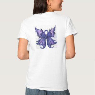 Purple Cancer Ribbon with Butterfly Wings Shirts