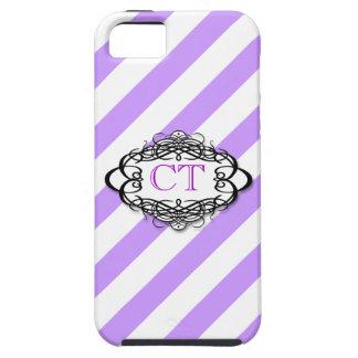 Purple candy stripe vintage monogram iPhone 5 cases