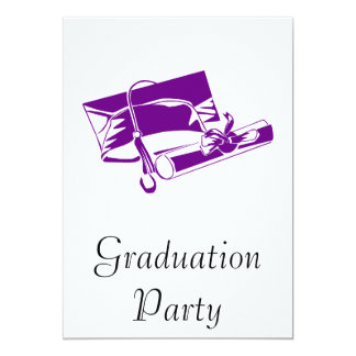 Purple Cap & Diploma 13 Cm X 18 Cm Invitation Card
