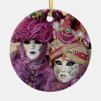 Purple Carnival costume, Venice Round Ceramic Decoration