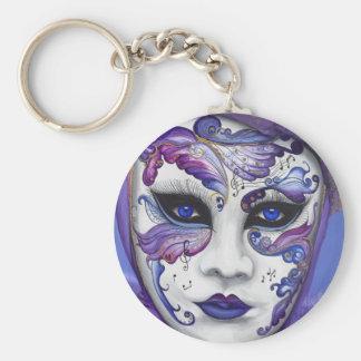 Purple Carnival Mask by PSOVART Basic Round Button Key Ring