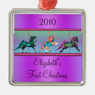 Purple Carousel Ponies Babys First Christmas Christmas Ornament