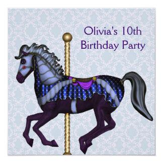 Purple Carousel Pony Girls 10th Birthday Party Custom Invitations