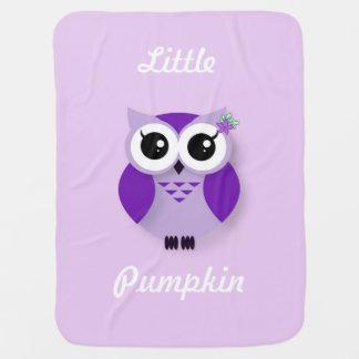 Purple cartoon owl personalized swaddle blankets