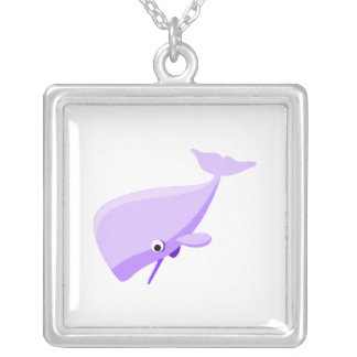 Purple Cartoon Whale Silver Plated Necklace