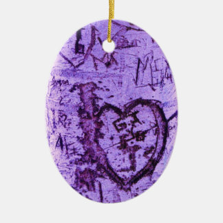 Purple Carved Tree Graffiti Christmas Ornament