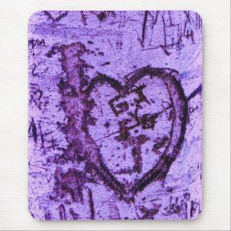 Purple Carved Tree Trunk Grafitti Mouse Pad