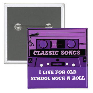 Purple Cassette Groove_ 15 Cm Square Badge