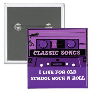 Purple Cassette Groove_ 15 Cm Square Badge