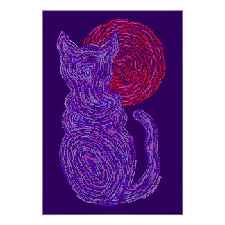 Purple Cat And The Moon Abstract Zen Cat 11 x 14 Poster