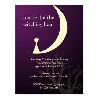 Purple cat moon spooky Halloween invitation card Postcard