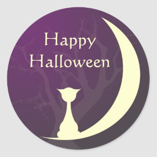 Purple cat moon spooky Halloween label gift tag Round Stickers