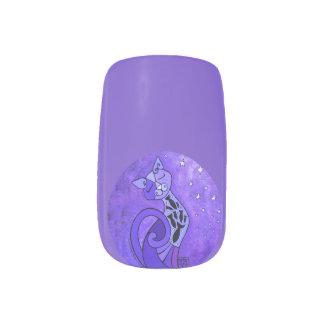 Purple Cat Nail Art