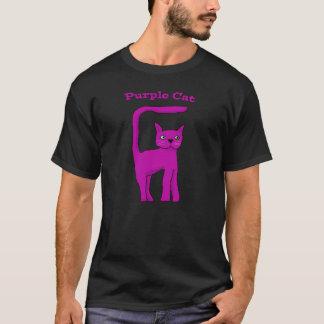 Purple Cat T Shirt, black T-Shirt
