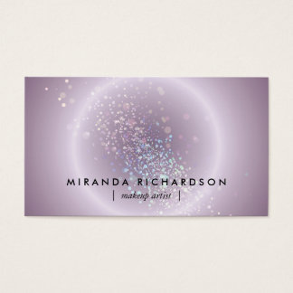 Purple Celestial Confetti Circle Makeup Artist Business Card