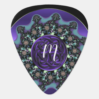 Purple Celtic Fractal Mandala Monogram Guitar Pick