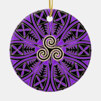 Purple Celtic Triskele Mandala Holiday Ornament