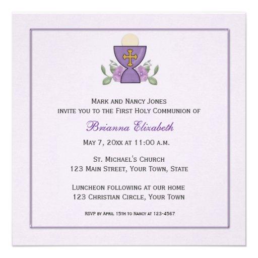 Purple Chalice First Communion Personalized Invites