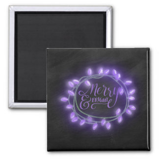 Purple Chalk Drawn Merry and Bright Holiday Magnet