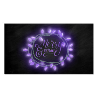 Purple Chalk Drawn Merry and Bright Holiday Pack Of Standard Business Cards