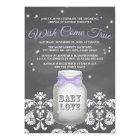 Purple Chalkboard Firefly Mason Jar Baby Shower Card