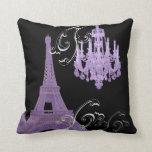 Purple Chandelier vintage paris decor Pillow