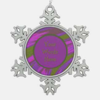Purple chartreuse Color Swish Abstract Pewter Snowflake Decoration