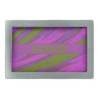 Purple chartreuse Pink Color Swish Rectangular Belt Buckle