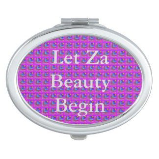 Purple Checkered Beauty Travel Mirror