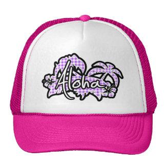 Purple Checkered Gingham; Aloha Trucker Hat