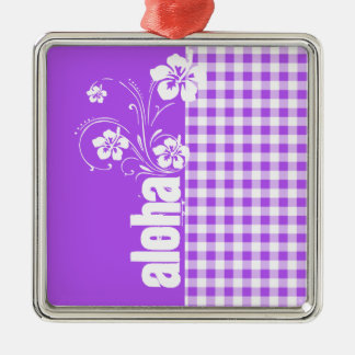 Purple Checkered Gingham; Aloha Christmas Ornament