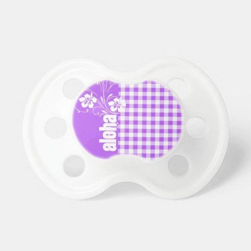 Purple Checkered Gingham; Aloha Baby Pacifiers