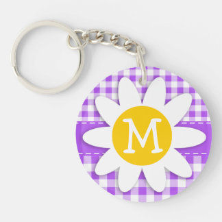 Purple Checkered Gingham; Daisy Double-Sided Round Acrylic Key Ring