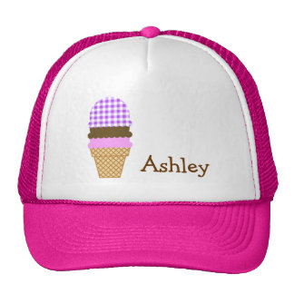 Purple Checkered Gingham; Ice Cream Cone Cap