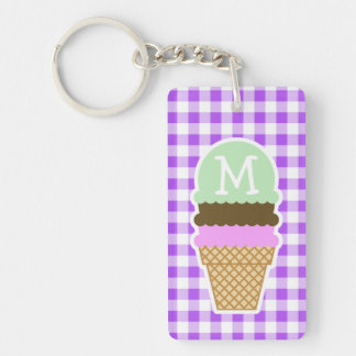 Purple Checkered Gingham; Ice Cream Cone Double-Sided Rectangular Acrylic Key Ring