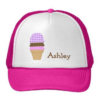 Purple Checkered Gingham Ice Cream Cone Mesh Hats