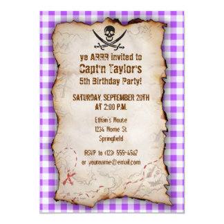 Purple Checkered Gingham Jolly Roger 13 Cm X 18 Cm Invitation Card