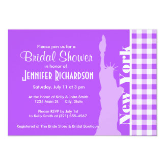 Purple Checkered Gingham; Statue of Liberty Card