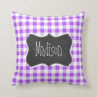 Purple Checkered Gingham; Vintage Chalkboard Cushion