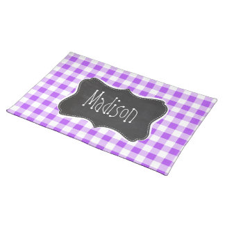 Purple Checkered Gingham; Vintage Chalkboard Placemat