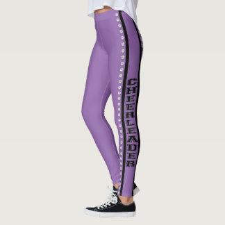 Purple cheerleader design pattern leggings