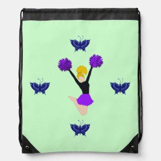 Purple Cheerleader with Blue Buttrflies Backpacks
