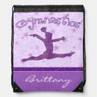 Purple Cheetah Print Stripe Gymnastics w/ Monogram Drawstring Bag
