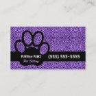 Purple Cheetah Print with Custom Paw Pet Sitter Business Card