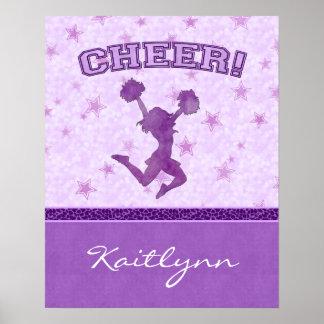 Purple Cheetah Stripe Cheerleader with Monogram Poster