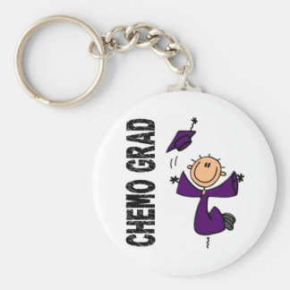 Purple CHEMO GRAD 1 (Pancreatic Cancer) Basic Round Button Key Ring
