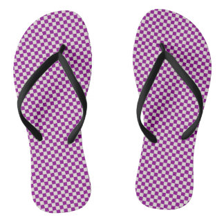 PURPLE CHEQUERED FLIP FLOPS