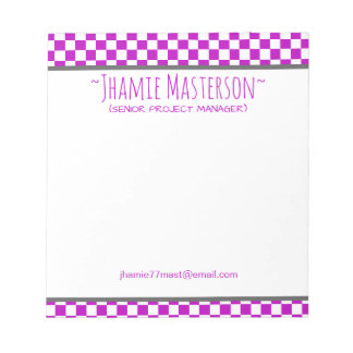 Purple Chequered Notepad
