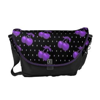 Purple cherries polka dot messenger bag